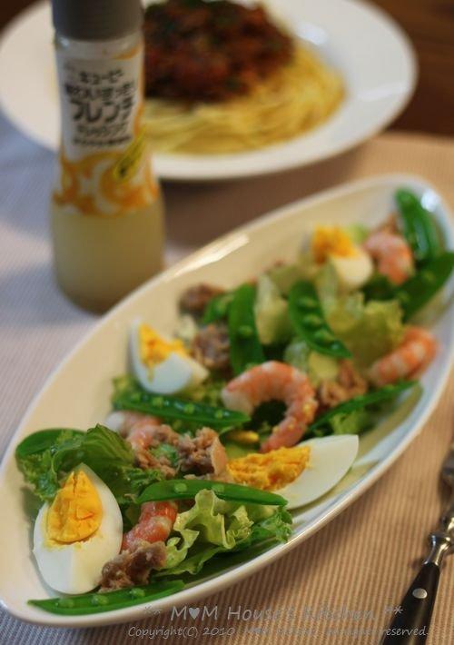 ミートソース & ゆで卵とツナの彩りサラダ♪_c0139375_15224370.jpg