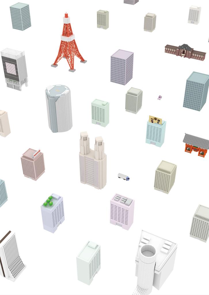ドット絵3DCGイラスト 東京の街並み