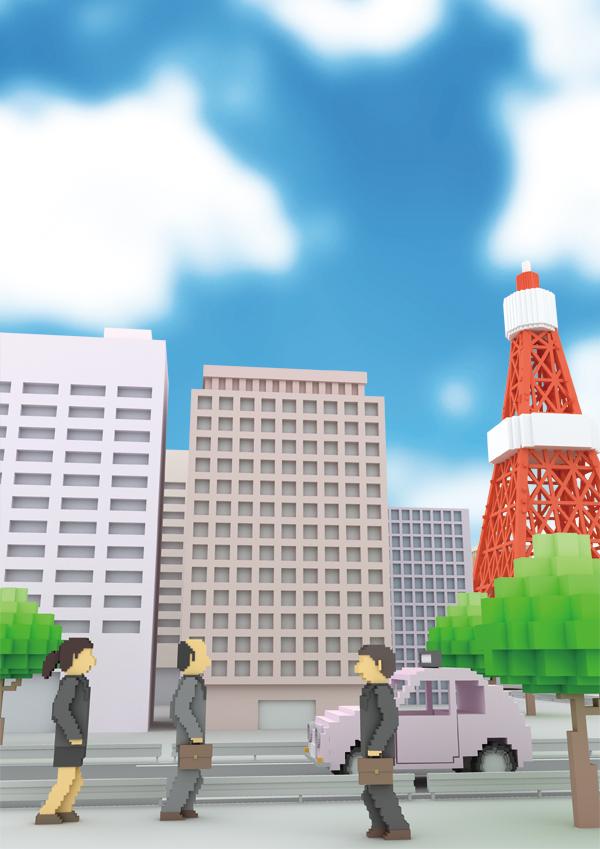 ドット絵3DCGイラスト 東京タワー