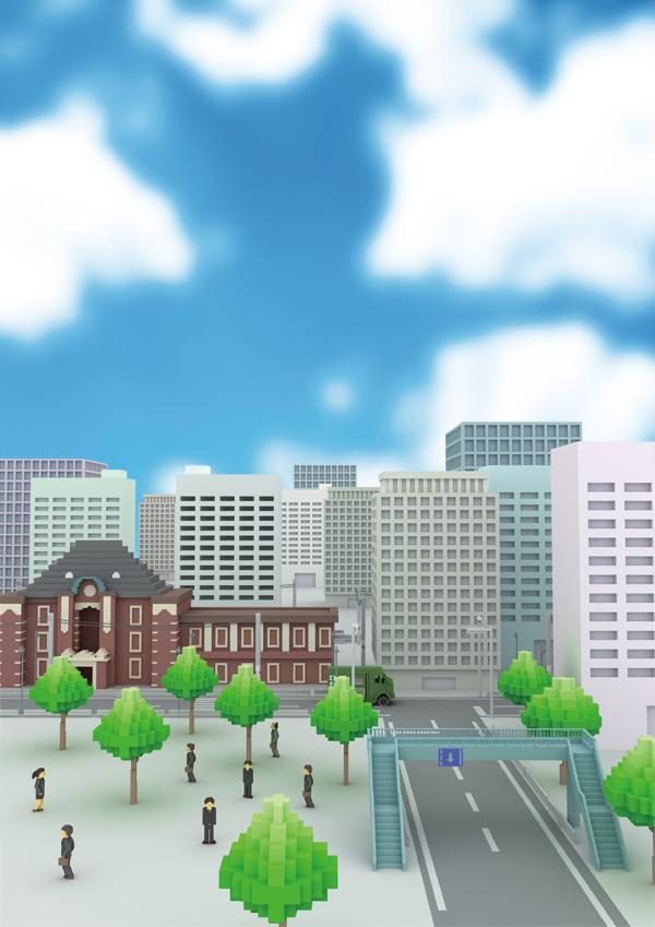 ドット絵3DCGイラスト 東京駅