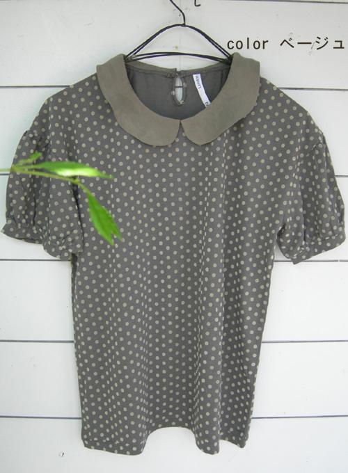 fig London フロッキードットの丸衿半袖プルオーバー_a0130646_156668.jpg