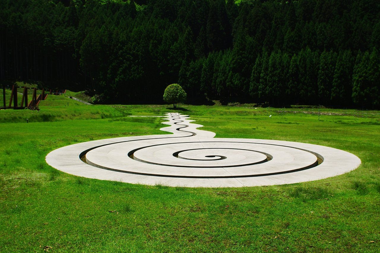 the spiral labyrinth of Muro Art Forest