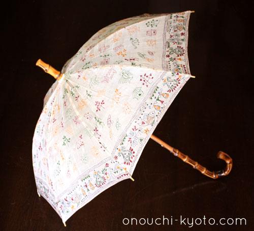 インドのサリー用生地を使ったかわいい日傘。_f0184004_21145363.jpg