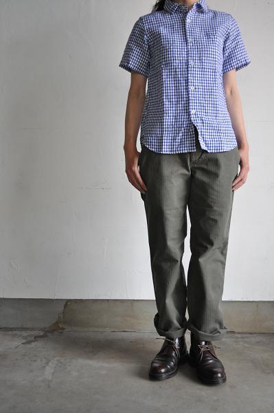 RINEN/リネン リネンギンガムチェックレギュラーカラーシャツ