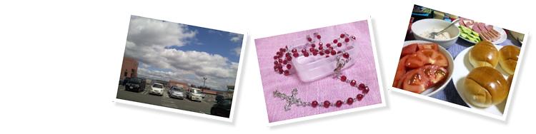 マイカル茨木(ビブレ)の屋上駐車場、赤いビーズのロザリオ、セルフサンドの食材
