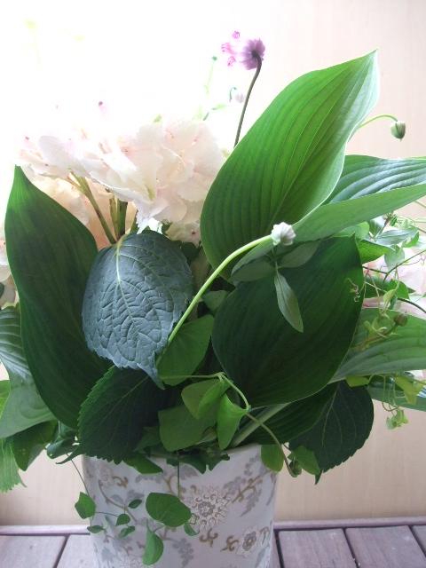 オークリーフ(大輪紫陽花とクレマチスのアレンジメント、シノワな器に)_f0049672_12555566.jpg