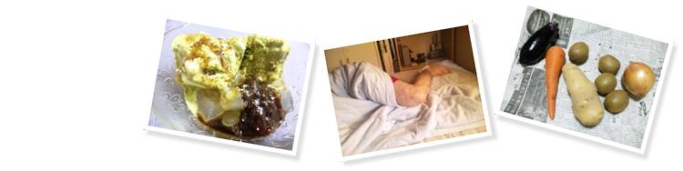 和風涼風デザ~ト♪、旦那の寝相、友人に頂いた野菜とフルーツ