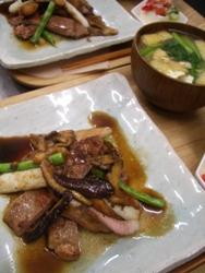 6/25晩ごはん:豚肩ロース肉の山椒焼き_a0116684_1964376.jpg