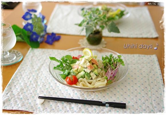 アボカドと蒸し鶏のサラダうどん_f0179404_9544476.jpg