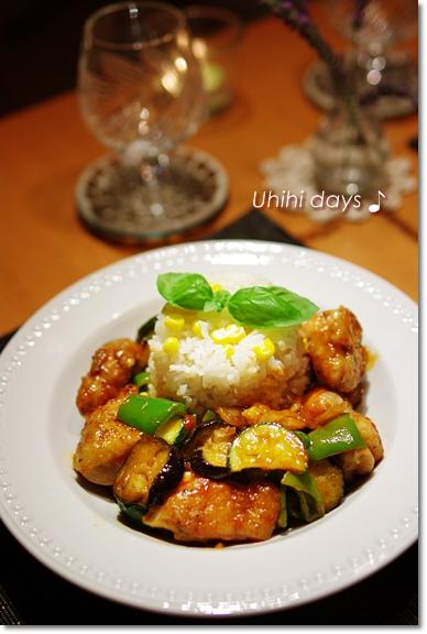 夏野菜で鶏チリソース_f0179404_203714100.jpg