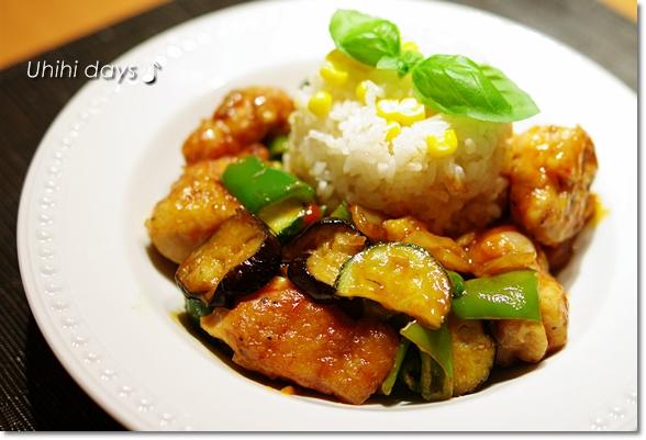 夏野菜で鶏チリソース_f0179404_20394852.jpg
