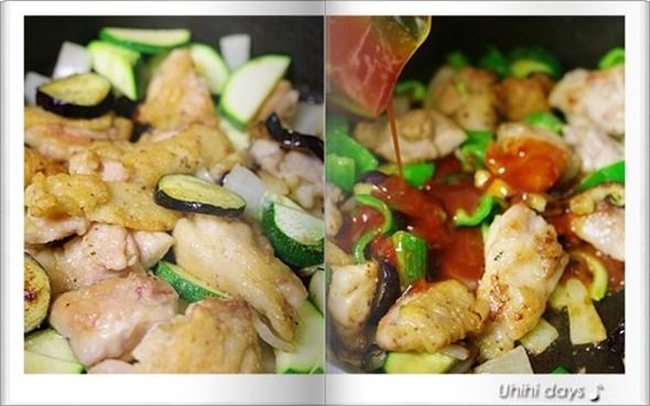 夏野菜で鶏チリソース_f0179404_2039935.jpg