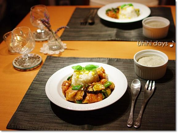 夏野菜で鶏チリソース_f0179404_20402618.jpg