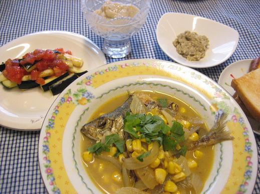 鰺のカレースープ煮の献立_d0031682_21464437.jpg