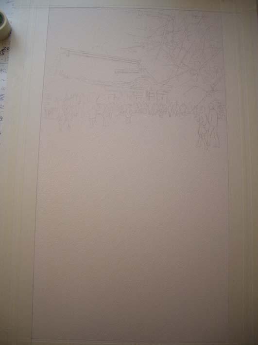 タイトル「未定」   水彩画制作工程前半_f0176370_623640.jpg