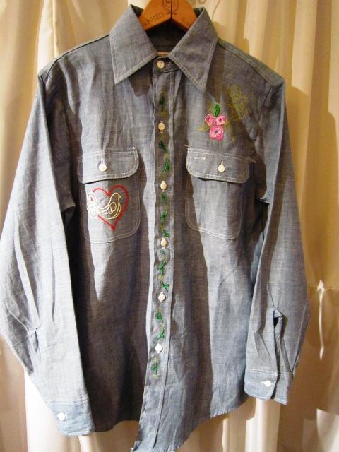 Used 1970\'s 刺繍入りシャンブレ―シャツ_f0191324_0543135.jpg