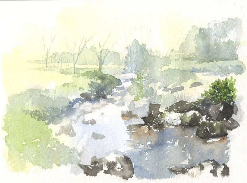 水辺 水彩画 練習_f0176370_1629167.jpg