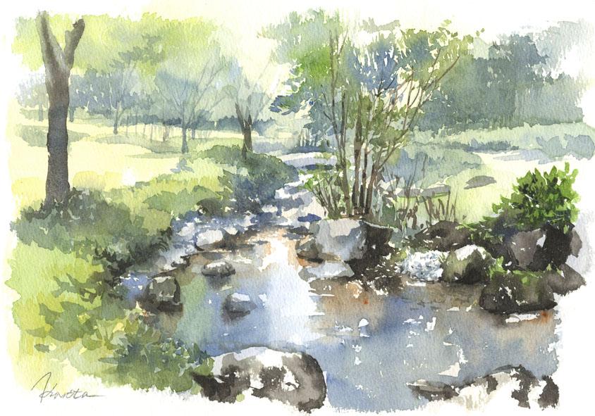 水辺 水彩画 練習_f0176370_16323259.jpg