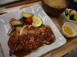 7/23晩ごはん:洋食屋さんのポークソテー_a0116684_013971.jpg