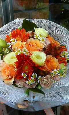 夏の暖色系花束_c0137266_2111592.jpg