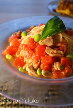 トマトとツナの冷製パスタ_b0065587_16162368.jpg