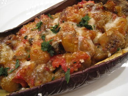 冷製トマトのパスタと米なすのオーブン焼き_b0107003_17555883.jpg