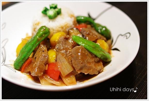 牛肉と夏野菜のチリソース と 花火!_f0179404_9454250.jpg