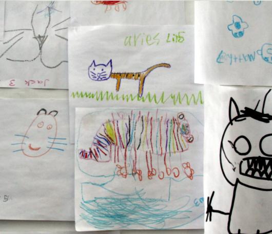 サウス・ストリート・シーポートで子ども達の描いた虎の絵見つけました_b0007805_0164451.jpg