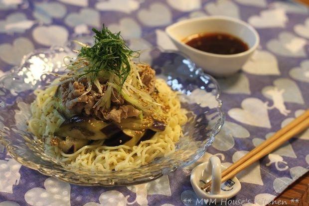 豚しゃぶと茄子の香味醤油 冷麺♪_c0139375_1528110.jpg
