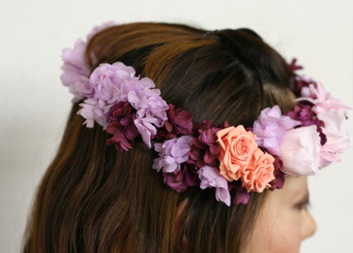 8月定期レッスン プリザーブドの花冠とフレームの花あるいはブーケ_a0042928_13172142.jpg