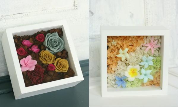 8月定期レッスン プリザーブドの花冠とフレームの花あるいはブーケ_a0042928_13173730.jpg