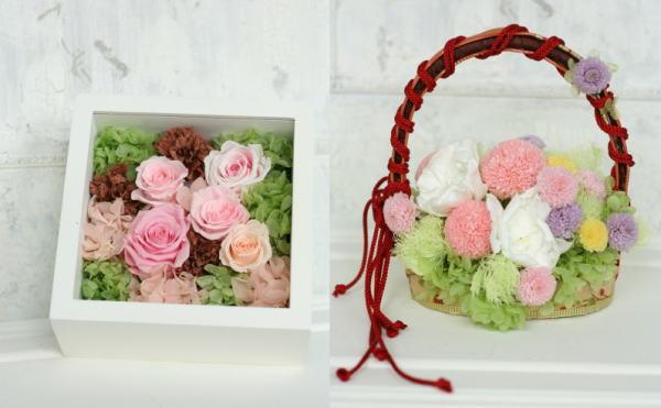 8月定期レッスン プリザーブドの花冠とフレームの花あるいはブーケ_a0042928_13174951.jpg