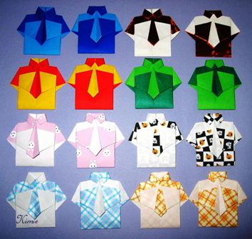 ハート 折り紙:折り紙 シャツの折り方-origaosiba.exblog.jp