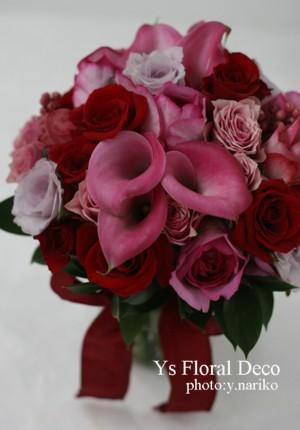 赤とピンクのクラッチブーケ_b0113510_11383444.jpg