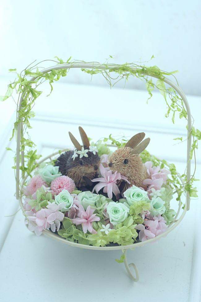 受付装花 花の野原のひよことうさぎ _a0042928_22552473.jpg