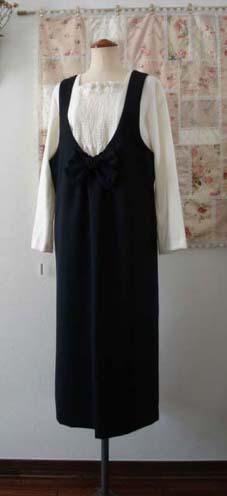 タブリエ風・白のチュニック&リボンのジャンパースカート…_f0182167_21435066.jpg