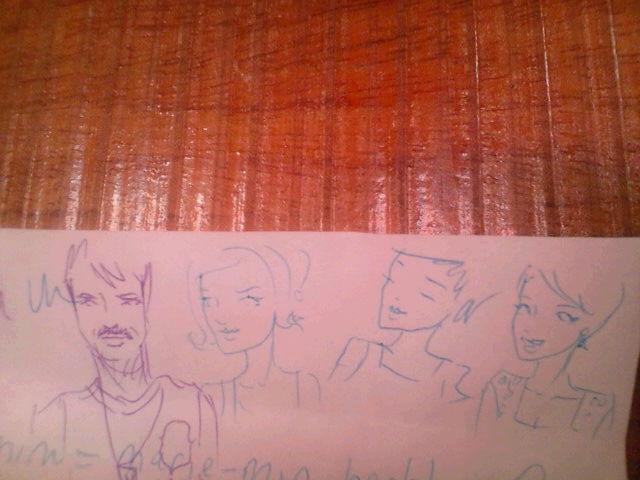先入観?(=゜ω゜)ノ、、韓国系France人の子に描かれた似顔絵…((笑)) 左隣はFrance人、右側はAustralia人の友人。_b0032617_13125762.jpg
