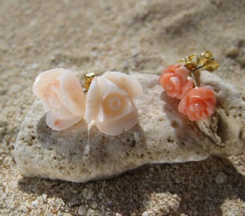 Ruca ピンク薔薇珊瑚 3WAYピアス in  沖縄_c0221922_17575657.jpg