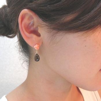 Ruca ピンク薔薇珊瑚 3WAYピアス in  沖縄_c0221922_181738.jpg