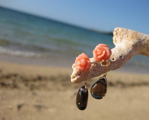 Ruca ピンク薔薇珊瑚 3WAYピアス in  沖縄_c0221922_1844123.jpg