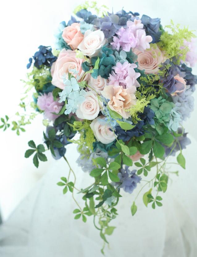 湖水の花 青にベージュピンクのプリザーブドブーケ 軽井沢へ_a0042928_23404436.jpg