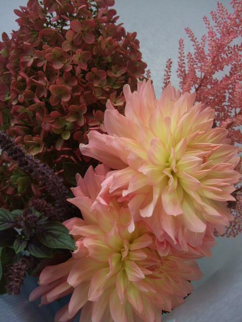 オークリーフ(ミナズキ紫陽花とダリアの花束)_f0049672_16195039.jpg