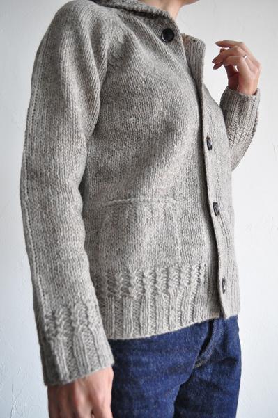 RINEN/リネン レディース 1/2 シェットランドウール手編み ショールカーディガン<br />