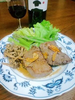 牛もも肉のステーキとスペインワイン_a0088939_9563349.jpg