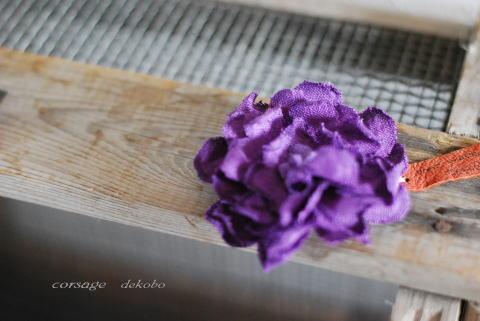 紫色のフルールコサージュ_d0091671_19344651.jpg