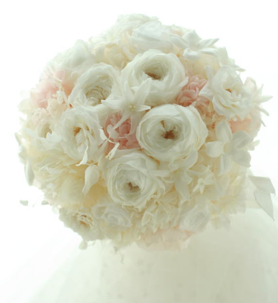 プリザーブドフラワーのブーケ 花とマシュマロ 椿山荘様へ_a0042928_23263332.jpg