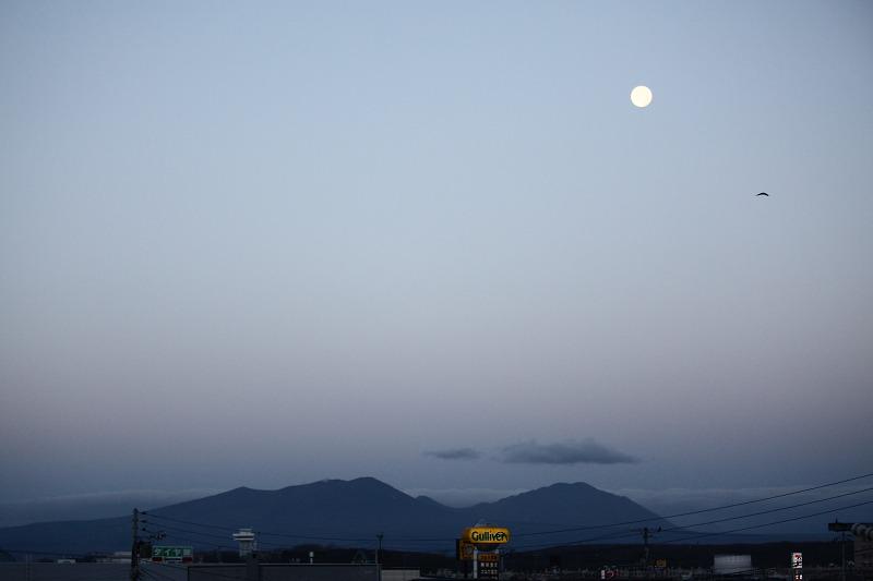 朝焼け 月と樽前山 _a0160581_17391148.jpg