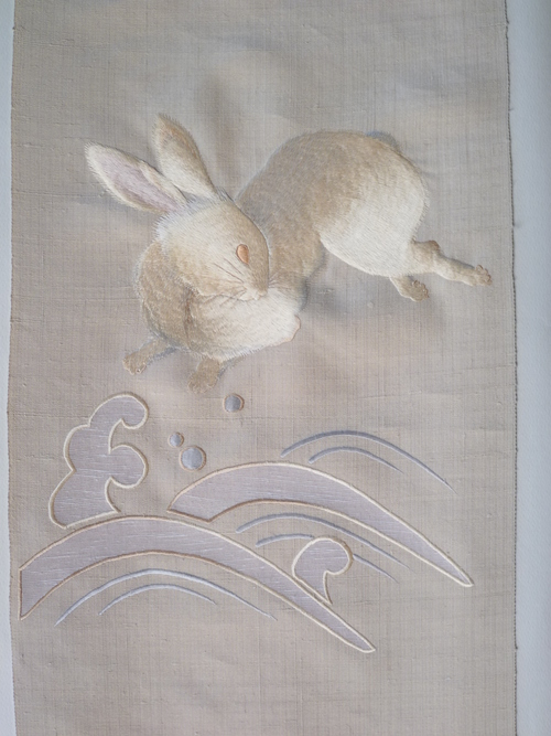 兎(うさぎ)柄の帯  美しいキモノ 冬号_d0159384_20234859.jpg