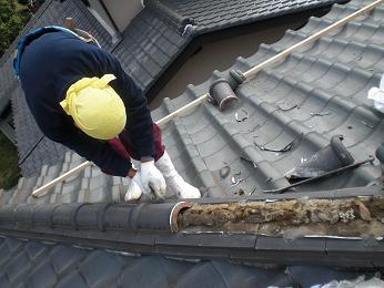 瓦屋根の雨漏り補修~棟瓦の取り外し_d0165368_354895.jpg