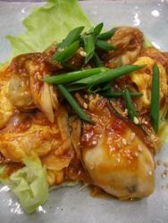 11/26晩ごはん:カキと卵のチリソース炒め_a0116684_1859559.jpg